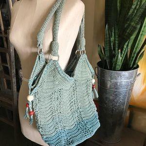The Sak brand crochet bucket hobo purse bag Boho